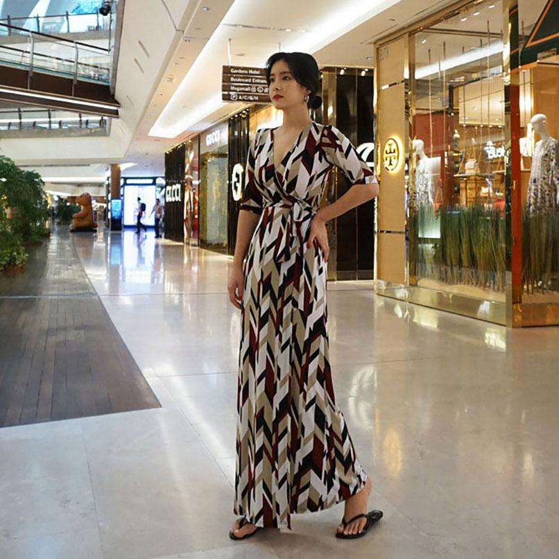 Maxi Imprimé Longue Dames Wrap Géométrique Femmes Automne Femme Robe 2019 Hiver Multi Casual xwTYS06YIq