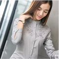 2016 new fashion Elegant long-sleeve shirt women fashion slim workwear Pink Gray white female good Quality OL blouse top