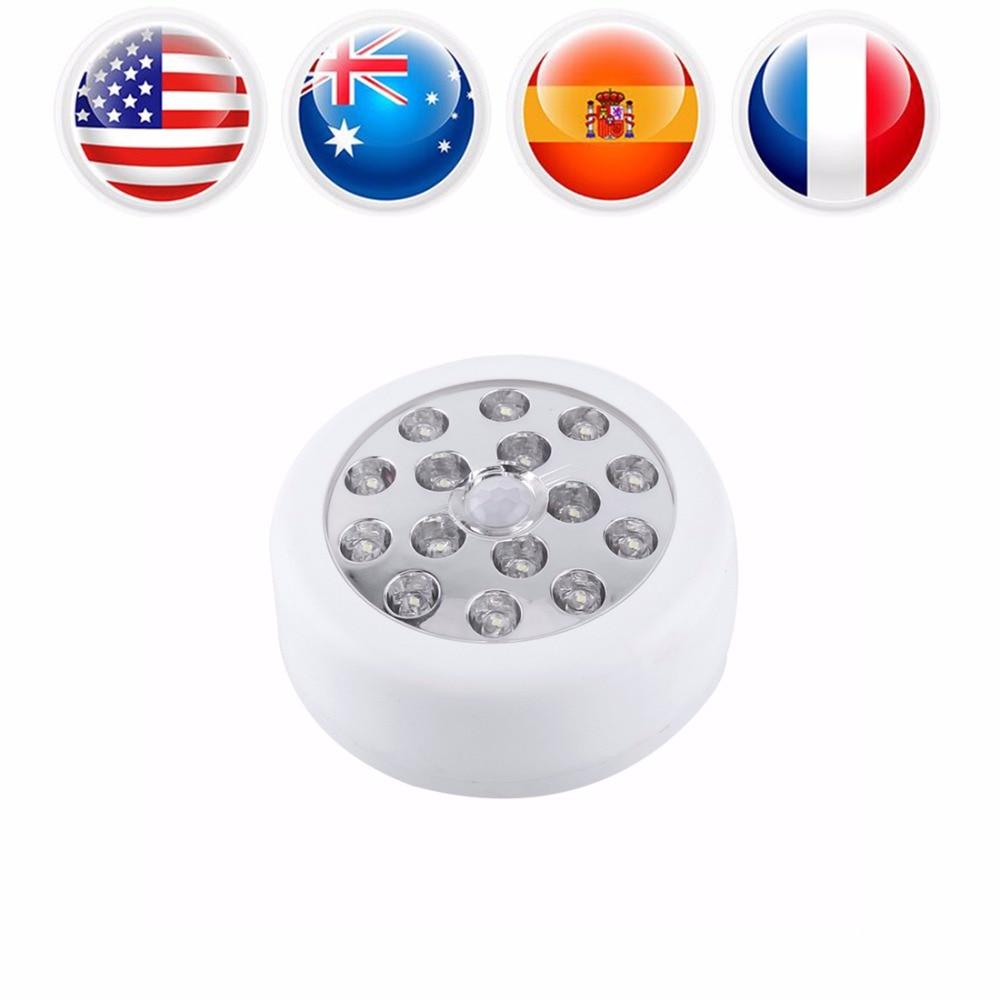 15 LED Wall Night Light Wireless Auto PIR Sensitive Motion Sensor Light Lamp Round LED Cabinet Light Wall Lamp Lighting