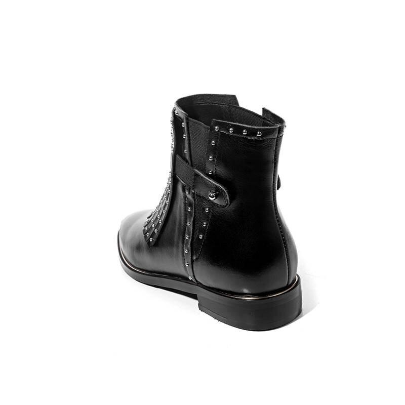 Echtes Niedrigen Größe Casual Karree Heißer 2018 Quaste Stiefel 43 Schnalle Schwarzes Leder 33 Ferse Frauen Memunia Mode Schuhe Stiefeletten white xwq1FFB