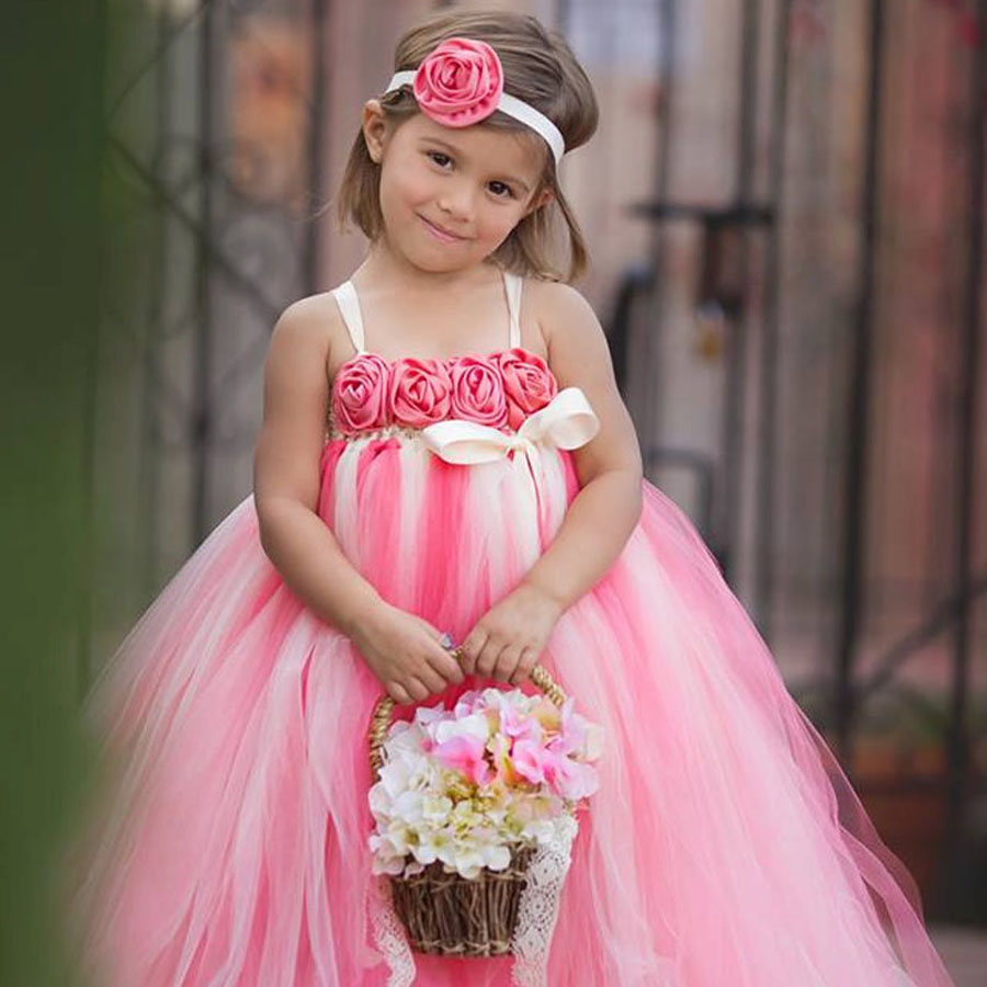baby flower girl tutu dresses with headband cute ball gown floor