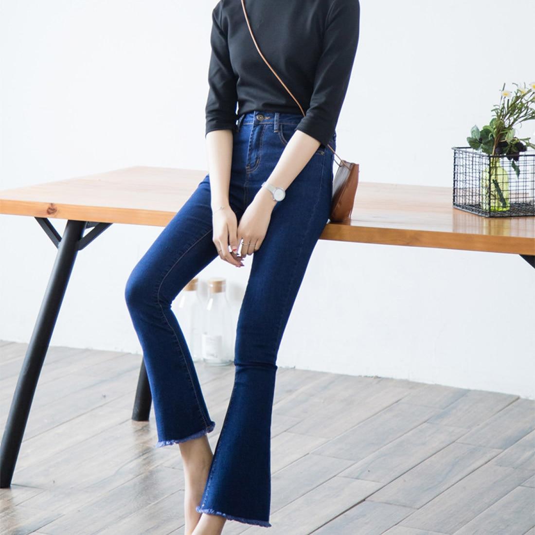 Jeans Woman Wide Leg Flare Pants Tassel high Waist Boyfriend Ripped jeans for women Vintage Denim Pants femme skinny jeans