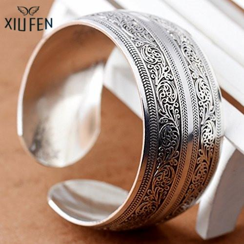 XIUFEN Cuff Bracelet Bangle Tibetan Silver Women Connecting Branches Special-Carved