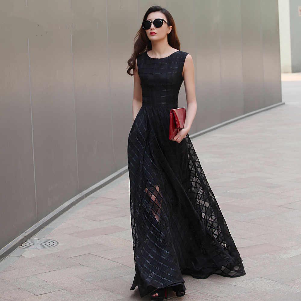 3373489f97c 2017 Новый дизайн 7XL длинное платье из органзы Макси Лето Осень плед  Большой размер женское Платье