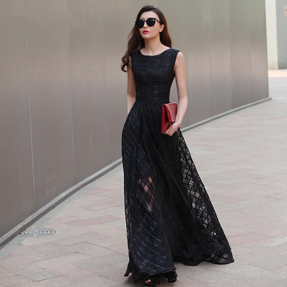 2015 New Design 7XL Long Organza Dress Maxi Spring Autumn Plaid Large Size Women Dress Vestidos De Festa Satin Dress Fashion
