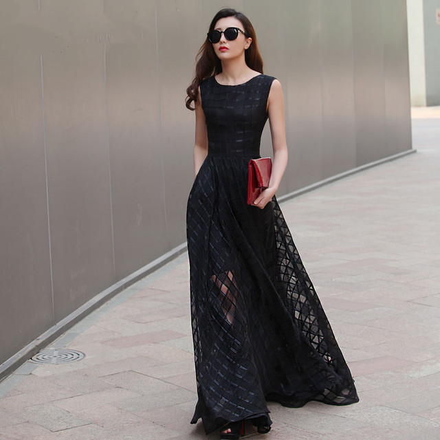 2017 New Design 7XL Long Organza Dress Maxi Summer Autumn Plaid Large Size  Women Dress Vestidos De Festa Satin Dress Fashion 07dc3a54e981