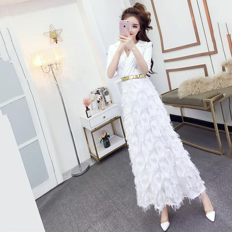 2019 популярное весенне осеннее Модное Новое платье темперамент Тонкий для похудения перо длинное белое платье женская одежда B59