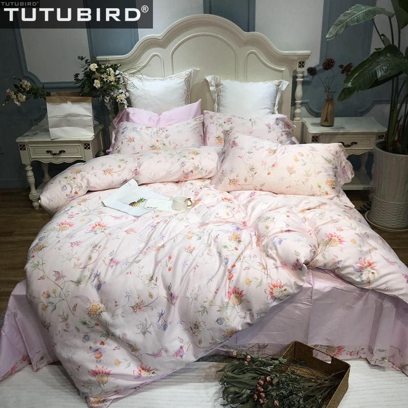 Pink Floral Pastoral Bedding Set  Egyptian Cotton Bed Linen Sheets Soft Satin Brief Flower Duvet Cover Pillowcases Bedspreads