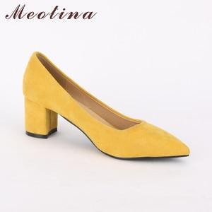 Image 3 - Meotina/туфли на высоком каблуке, женские туфли лодочки с острым носком, обувь для работы, весенняя обувь на высоком каблуке без шнуровки, большой размер 9, 42, 43, красный, желтый