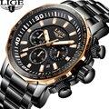 En este momento de los hombres, reloj de marca de lujo de moda de negocios negro clásico de cuarzo impermeable de los deportes relojes cronógrafo reloj Masculino