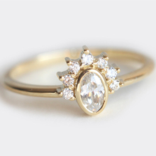 Ring For Women 0.25 Carat Oval 18K rose solid gold Diamond jewelry Engagement wedding fashion bague(China)