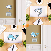 Cute Cartoon White Shark Color Wall Art Sticker For Switch Laptop Decals Removable Self Adhesive Wallpaper Kids Rooms Decoration