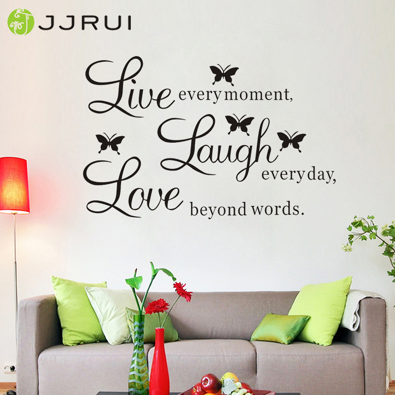 "Wall Quote Vinyl Decal ""Live every moment,Laugh every day,Love beyond words"" DIY Wall Sticker Home Decor Decoration for Bedrooms"