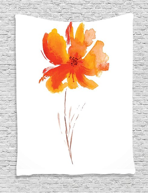 Watercolor Flower Decor Tapestry Single Poppy On Plain Clear Background Nature Inspired Romantic Art Bedroom