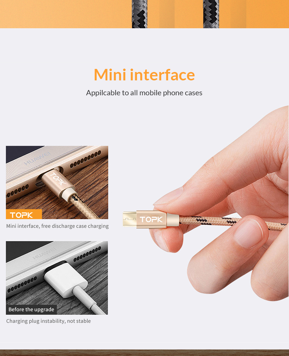 TOPK Micro USB Cable 2.4A Fast Data Sync Charging Cable For Samsung Huawei Xiaomi LG Andriod Microusb Mobile Phone Cables 2