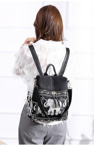 Image 3 - Fashion Anti theft Women Elephant Print Backpacks Ladies Large Capacity Shoulder Bags Waterproof Oxford and PU School Travel Bag