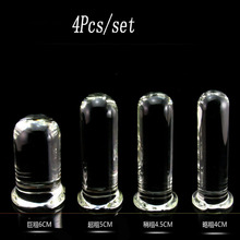 4 pcs/set Promotion clear glass huge big anal dildo butt plug adult sex toys for woman anal dilator stimulator plugs buttplug