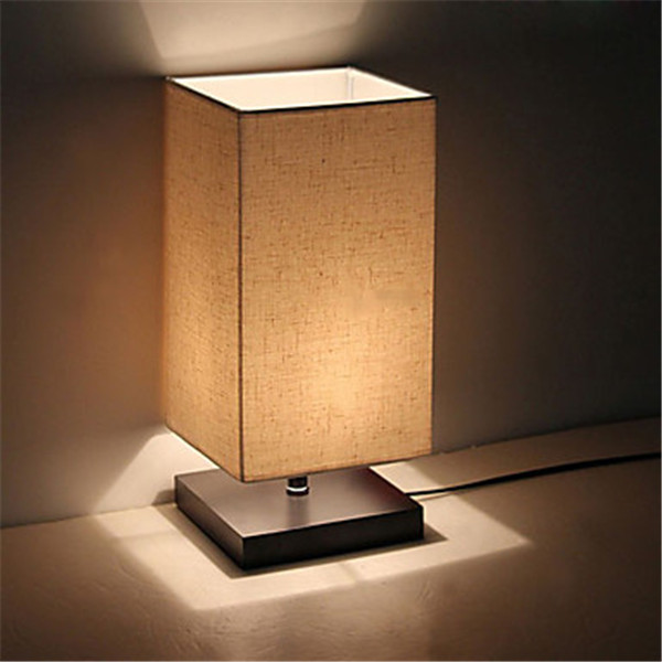 Solid Wood Bedside Table Lamp bedroom Desk night Light Square Fabric Shade NEW