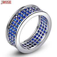 JROSE Wholesale Retail Wedding Band Sapphire Quartz 18K White Gold Plated Ring For Women Men Jewelry