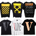 Off White T-shirt Men Hip Hop  Streetwear Virgil Abloh VLONE Tees Shirts Causal Cotton GD canye west Volne Off White T-shirts