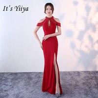 It's YiiYa New Sexy Split Formal Dresses Vestidos Charming Halter Sequined Slim Evening Gowns H052