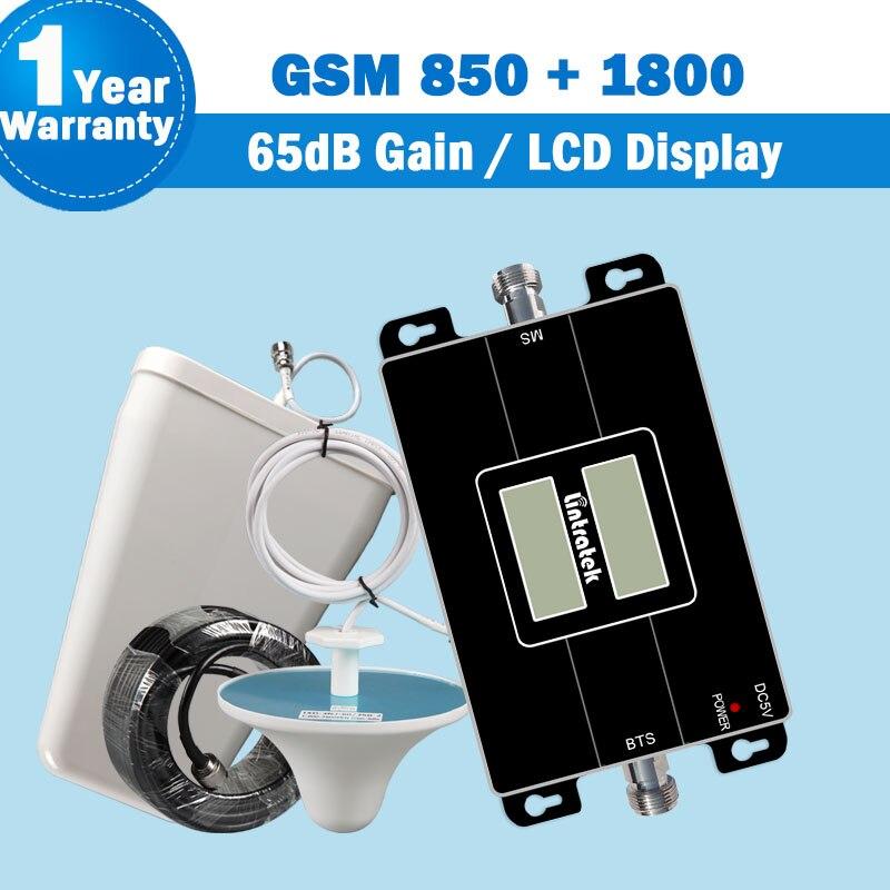 Lintratek double 850 1800 GSM double bande répéteur de Signal Mobile GSM 850 + 1800 mhz bande 3 65dB Gain amplificateur de téléphone portable Booster S42