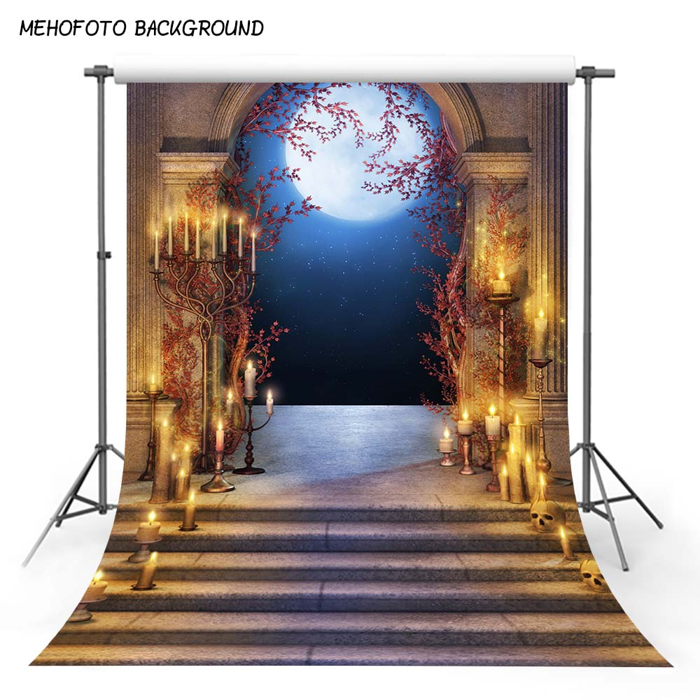 MEHOFOTO Fantasy Fairy Tale Night Palace Photography Backdrops Stone Arch Door Candles Rom Photo Background Custom 5x7ft HA-119 fairy tale background mushroom fantasy photo backdrops cartoon photocall fotografica for child photography studio kate 5x7ft