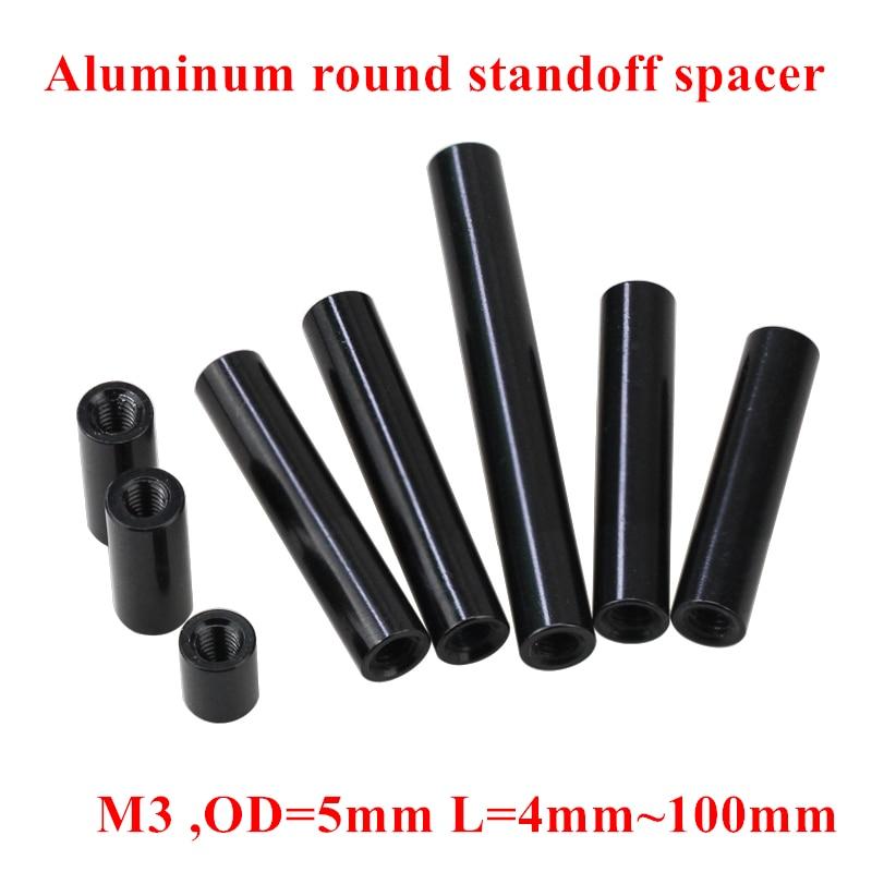 10pcs M3 Aluminum Column post M3*6/8/10/12/15/20/25/30/35/37..100mm Black Aluminum round standoff spacer Spacing screws RC Parts