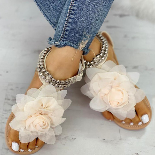 2020 Plus Big large size 43 leisure beach vacation comfortable flat Summer women Shoes Sandals woman flip flops shoes woman