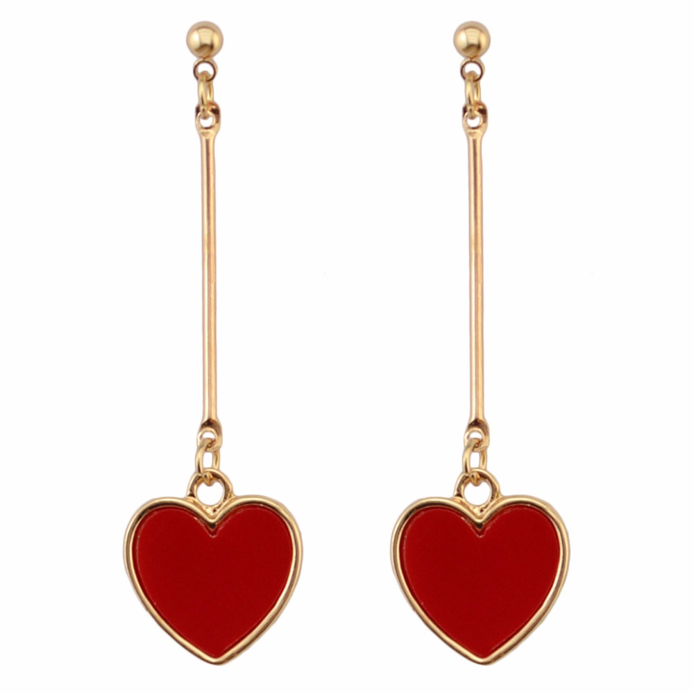 Red Heart Shaped Earrings
