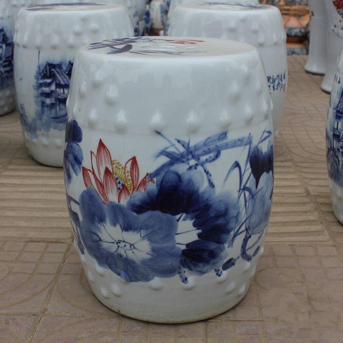 Jingdezhen Indoor Ceramic Antique Home Drum Porcelain Garden Stool Glazed  Hand Painted Round Ceramic Ceramic Outdoor Stool