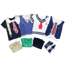 Boys Girls College Style Summer Suits Tie Vest Bib Print T Shirt Plaid Floral Short Pants Toddler Navy Style T-shirt 18M - 5Y navy self tie design random floral print tiered playsuit
