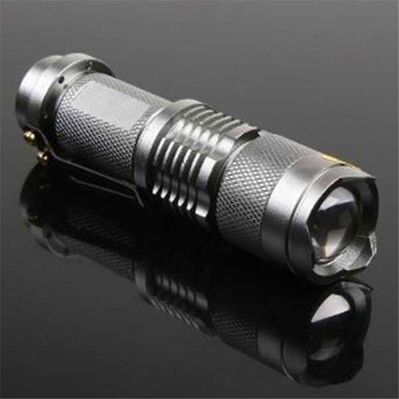 7W 300LM Mini LED Flashlight Torch Adjustable Focus Zoom Light Lamp Silver powerful led flashlight laser pointer #4S19 (3)