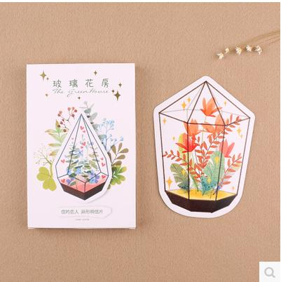30pcs Kwaii Greeting Card Postcards Birthday Bussiness Gift Card Set Message Card-Glass Greenhouse