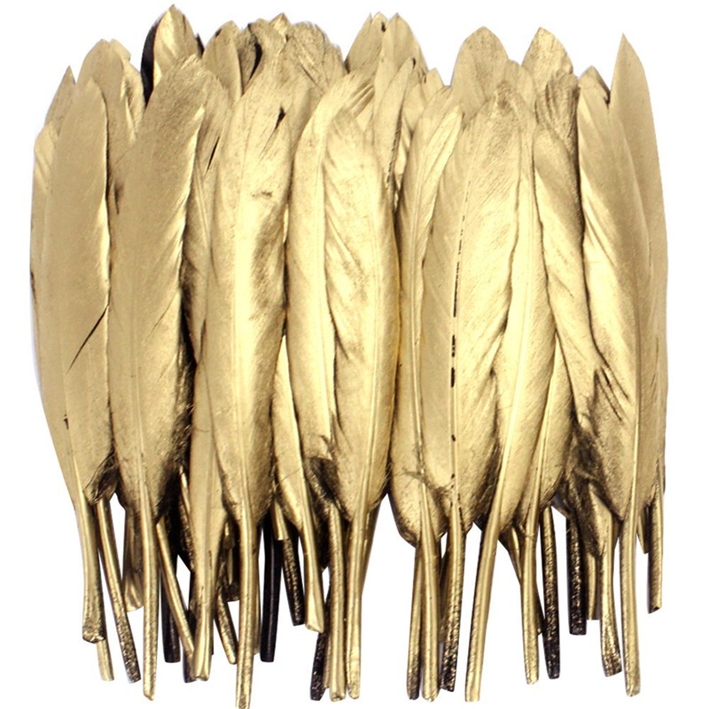 Wholesale Glitter Gold Silver Dipped Goose/Duck Feathers For Crafts Jewelry Accessories DIY Clothing Wedding Decoration Plumes