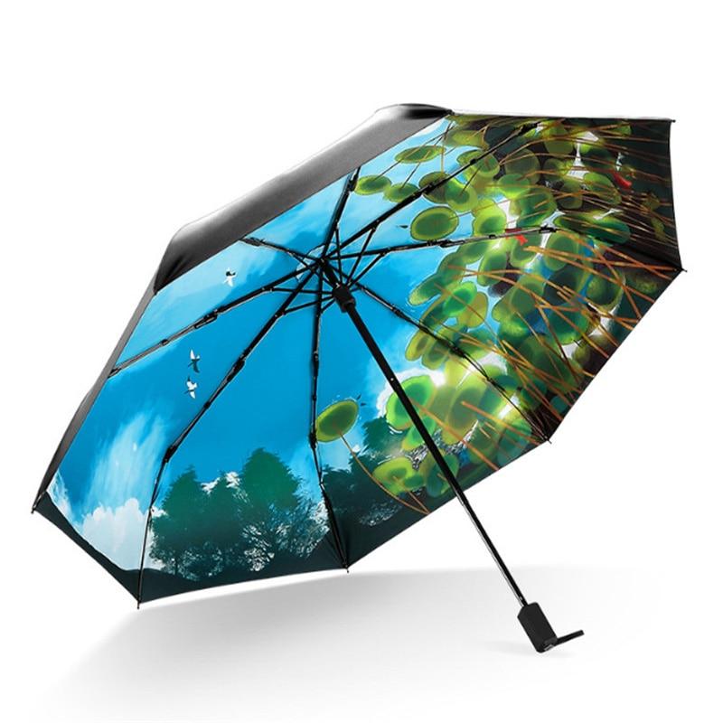 beautiful lake view cave umbrella female anti uv umbrella parapluies rain gear umbrellas women. Black Bedroom Furniture Sets. Home Design Ideas