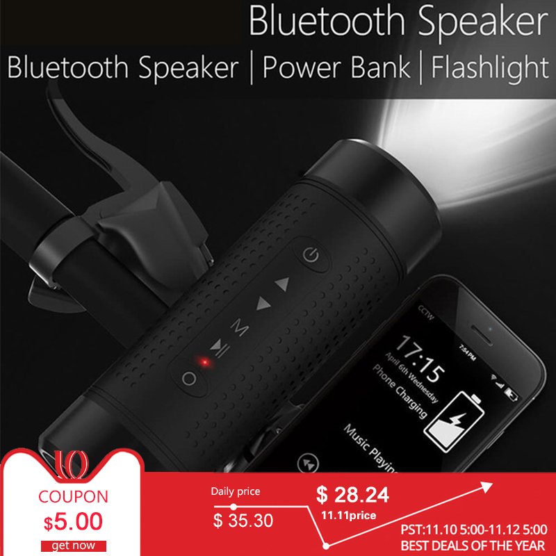 Bluetooth Speaker Outdoor Bicycle Portable Subwoofer Bass Wireless Speakers Power Bank+LED light +Bike Mount+Carabiner ForJBL exrizu ms 136bt portable wireless bluetooth speakers 15w outdoor led light speaker subwoofer super bass music boombox tf radio