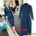 Maxi Jeans Dress 2016 Women Denim Long Vestidos Slim One-piece Cowboy Dress 4XL With Belt For Women jeans maxi dress