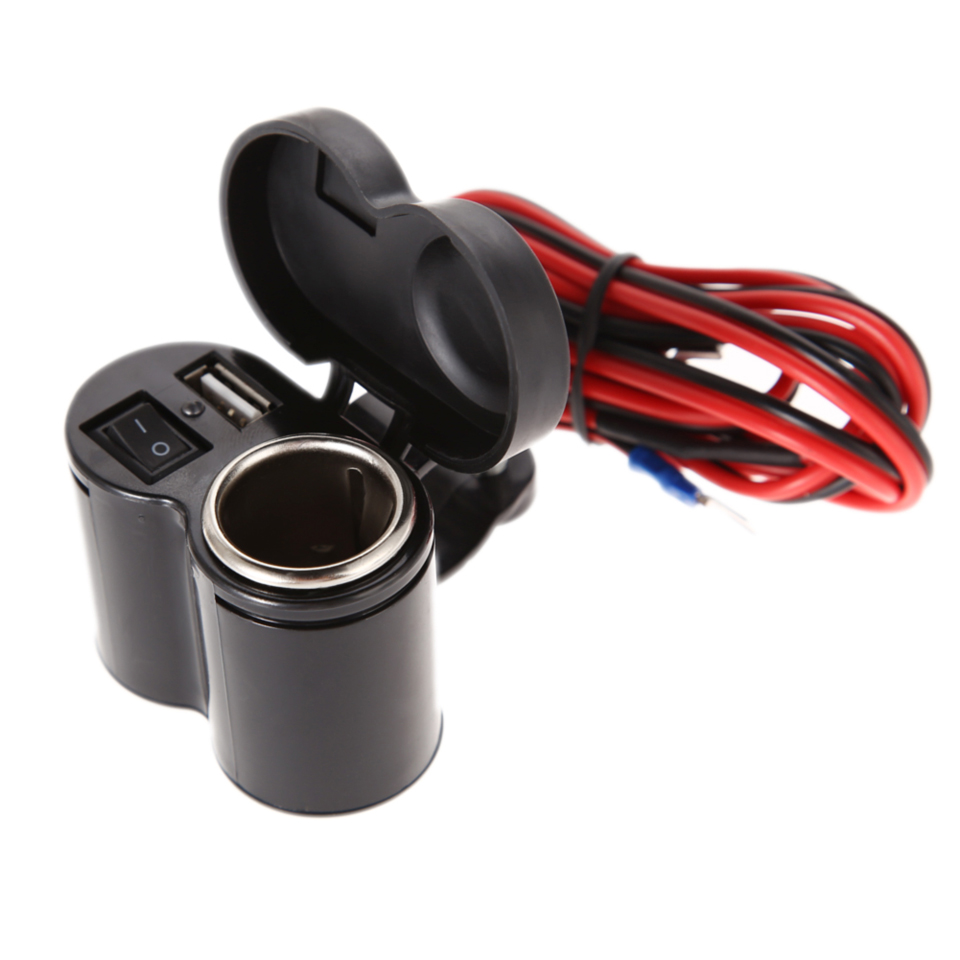 12-24V 1.2m Motorcycle <font><b>Cigarette</b></font> Lighter Scooter Handlebar USB <font><b>charger</b></font> Clamp Waterproof USB <font><b>Light</b></font> Motorcycle <font><b>Charger</b></font> <font><b>car</b></font>-styling image