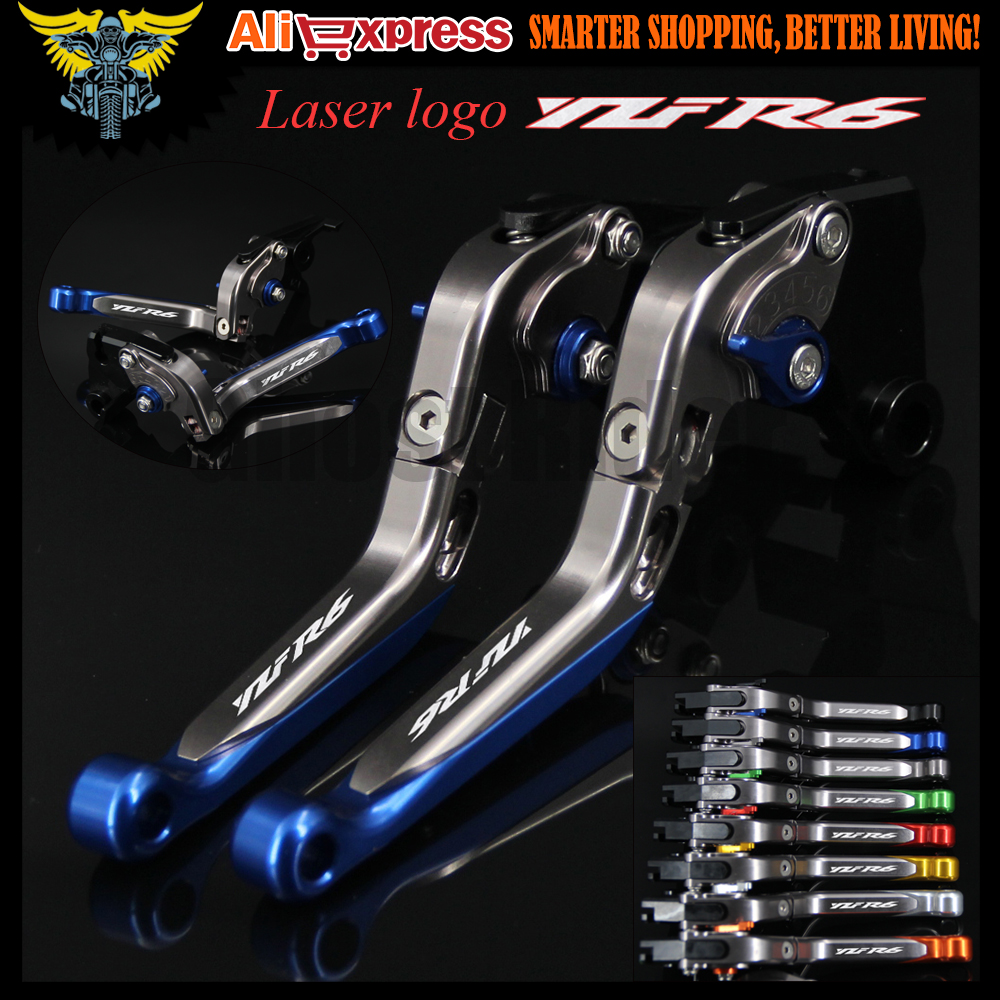 Laser Logo(YZF R6) Motorcycle Brake Clutch Levers For Yamaha YZF R6 2005 2006 2007 2008 2009 2010 2011 2012 2013 2014 2015 2016 6 colors cnc adjustable motorcycle brake clutch levers for yamaha yzf r6 yzfr6 1999 2004 2005 2016 2017 logo yzf r6 lever
