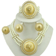 african bead jewelry sets fine  wedding 24k gold women necklace