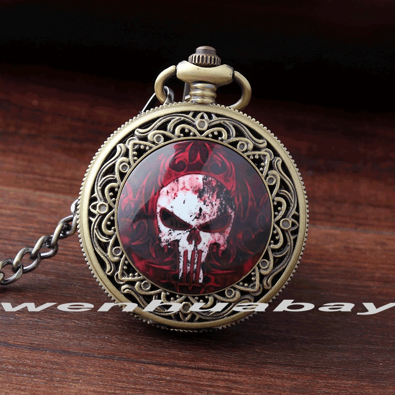 Halloween Gift Watch Carving Red Skull Red flame Cool Bronze Quartz Pocket Watch Pendant FOB Chain Women Mens Boy Best Gifts greg pak red skull incarnate