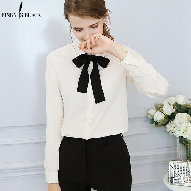 f5022190d3e92d Pinky Is Black Summer Long Sleeve Blouse Shirts Women Cute Chic Bow Tie  Blouse Ladies Fashion Casual Women Tops Blusas Femme