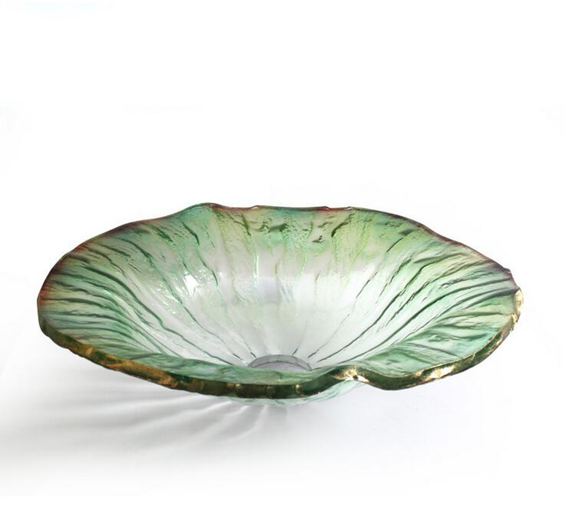 Bathroom Light Green Colorful Tempered Glass Washbasin Glazed Glass Artistic Basin vessel sinks LO629239