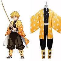 Лезвие демон уничтожения агацума Zenitsu костюм для костюмированной игры нарядный Хэллоуин изготовленные на заказ костюмы