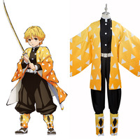 Blade of Demon Destruction Agatsuma Zenitsu Outfit Cosplay Costume Outfit Halloween Carnival Costumes Custom Made