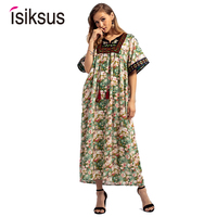 Isiksus V neck A Line Floral Long Dresses Casual For Women 2018 Summer Autumn Ladies Cotton Short Sleeve Loose Dress DR120