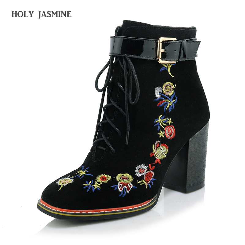 Hot sale New Retro Ethnic Embroidery Winter Shoes Women High Heel Ankle Boots Sexy Buckles Platform Shoes Women Winter Boots hot sale ethnic floral pattern pashmina for women