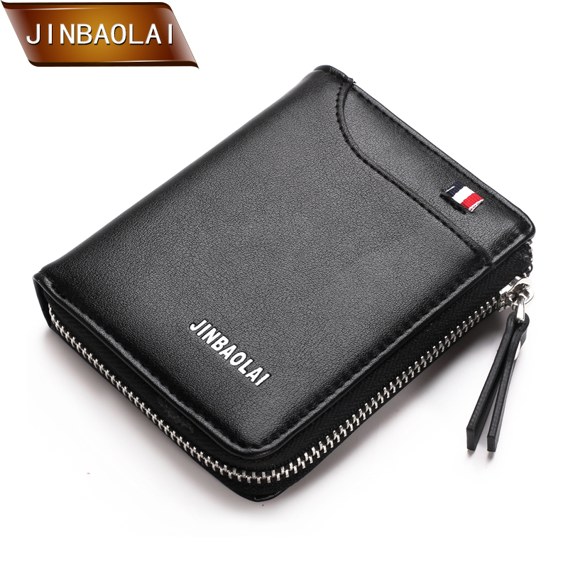 JINBAOLAI 2018 New Design Men Wallets PU Leather Card Holder Short Wallet Men's Brand Casual Standard Wallet Zipper Coin Purse