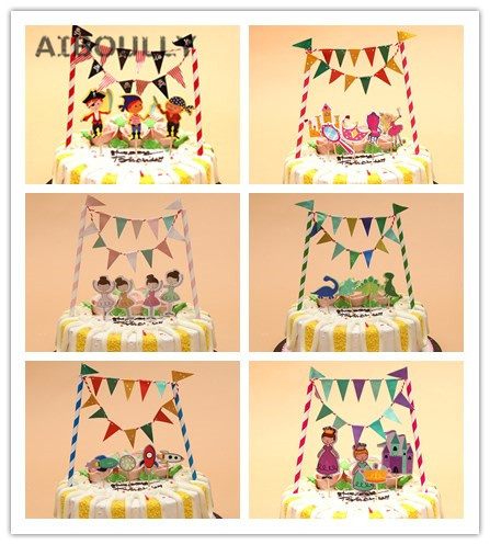 2017 New Cartoon Cake Topper flag banner set Kids Boy Girl Birthday Baby Shower Cake Decoration Supplies